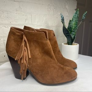 Carlos Santana Tempe Fringe Suede Ankle Boots 8